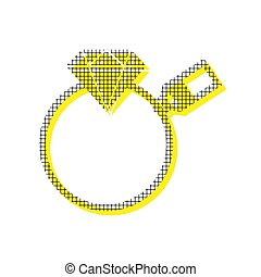 Diamond sign with tag. Vector. Yellow icon with square pattern d