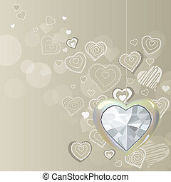 Diamond silver heart hanging on light grey background