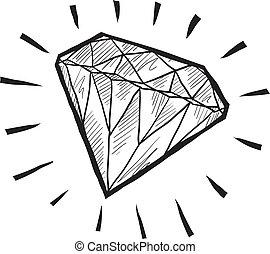 Diamond sketch - Doodle style diamond or wealth icon...