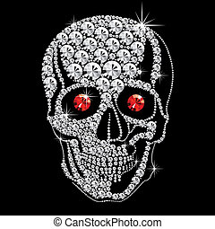 vector diamond skull with red ruby eyes on black background