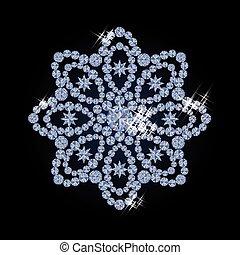 Diamond snow flower vector