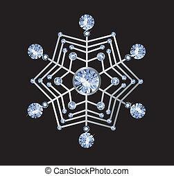 Diamond Snowflake - snowflake made of diamonds isolated on...