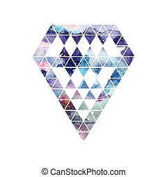 Diamond space design. Abstract watercolor ornament.