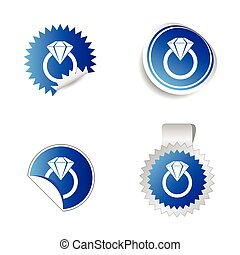diamond sticker blue vector