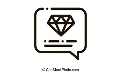 Diamond Stone In Quote Frame Icon Animation. black Expensive Jewelry Diamond And Text, Crystal Description animated icon on white background
