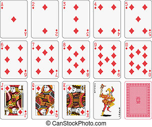 Diamond suit - Detailed playing cards, diamond suit, joker...