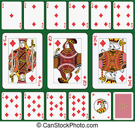 Diamond suit. Jack, Queen and King double sized. Green background in a separate level in vector file.
