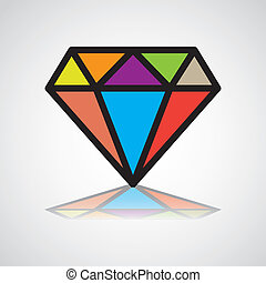 diamond symbol, design icon, concept identity - illustration
