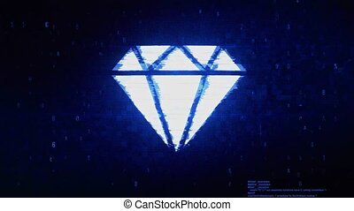 Diamond Symbol Digital Pixel Noise Error Animation.