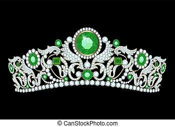 Diamond tiaha with emeralds - Diamond tiara with emerald...