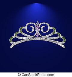 Diamond tiara with emeralds vector illustration