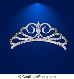 Diamond tiara with emeralds vector illustration