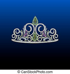 Diamond tiara with pink and green