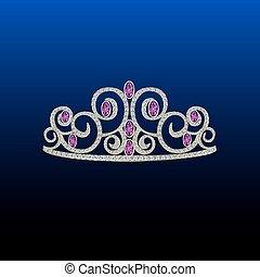 Diamond tiara with pink stones.