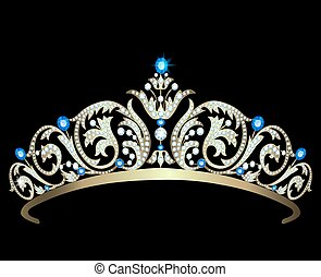 Diamond tiara with sapphires - Vintage gold diadem decorated...