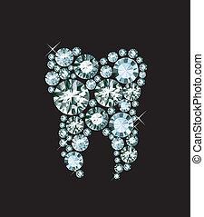 Diamond Tooth - diamond tooth isolated on white