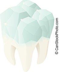Diamond tooth icon, isometric style