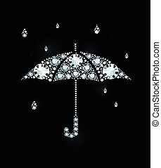 Diamond Umbrella and Rain Drops