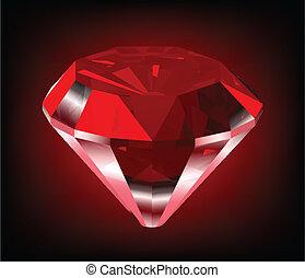 diamond., vecteur, brillant, rouges
