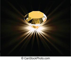 diamond., vecteur, jaune