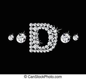 Diamond vector alphabetic letter 'D'