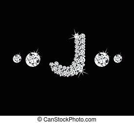 Diamond vector alphabetic letter 'J'