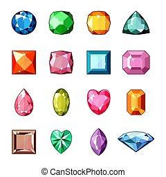 Diamond vector crystal stone and gem or precious gemstone...