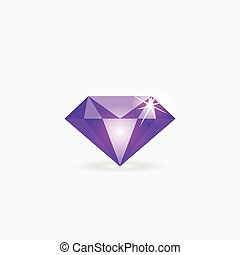 Diamond vector icon, jewelry logo, gem stone isolated