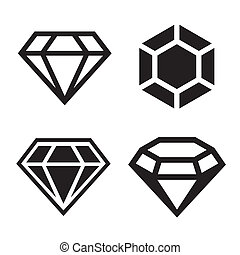 Diamond vector icons set. Easy clear shape. Vector.