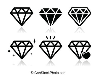 Diamond vector icons set - Jewelery, diamond black icons set...