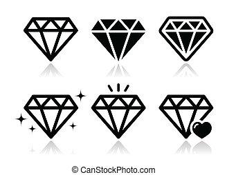 Jewelery, diamond black icons set with reflection isolated on white
