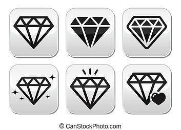 Diamond vector icons set - Jewelery, diamond grey square...