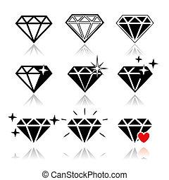 Diamond vector icons set on white background.
