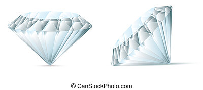 diamond vector illustration with shadow two versions of eps...