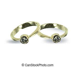 diamond., vetorial, anéis, ouro, casório