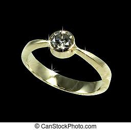 diamond., vettore, anello, oro, matrimonio