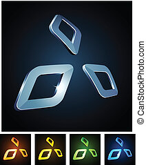 Diamond vibrant emblems. - Vector illustration of 3d shiny...