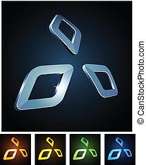 Vector illustration of 3d shiny diamonds. .