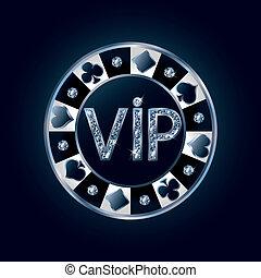 Diamond VIP poker chip, vector illustration