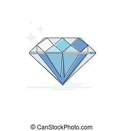 Diamond Wealth Icon Thin Line Vector Illustration
