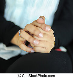 Diamond Wedding Ring On Classping Hand
