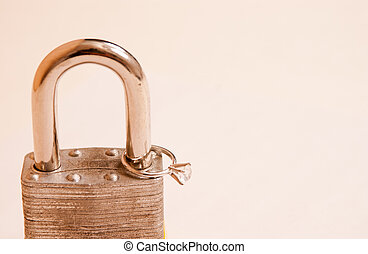 Diamond wedding ring on pad lock