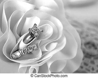 Diamond Wedding Rings - Diamond wedding rings in the folds...