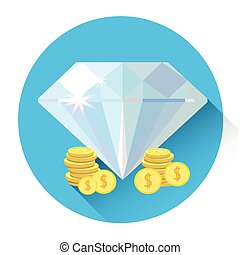 Diamond With Coins Colorful Icon Business Investment Concept