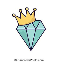 diamond with crown icon on white background
