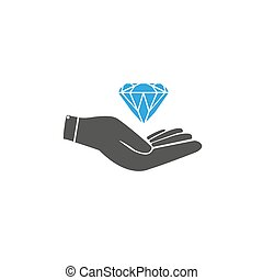 Diamond with hand icon isolated on white background for your design, logo, application,