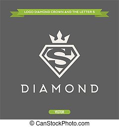 Diamond with the letter S and flat crown vector logo