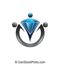 Diamond worker logo template. Recruitment vector design. Search personnel logotype