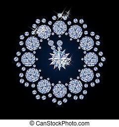 Diamond xmas clock, vector