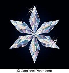 Diamond xmas snowflake, vector